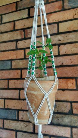 Kwietnik wiszący długa makrama handmade sznurkowy koraliki 105 cm