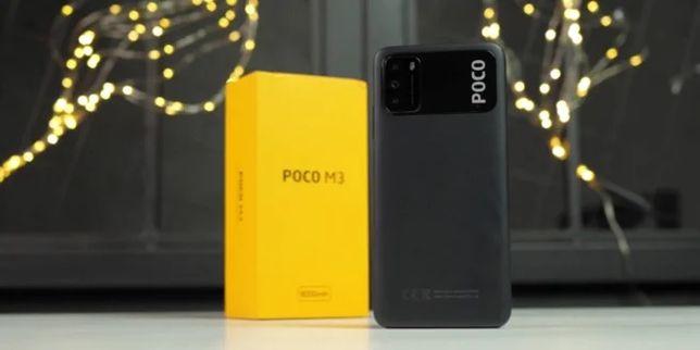 POCO M3  4/64 black+ защитное стекло в подарок
