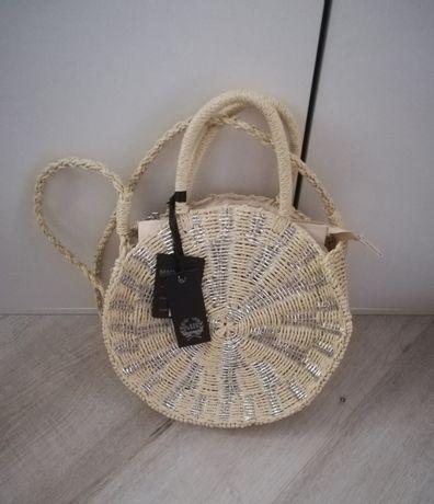 Nowa okrągła pleciona torebka koszyczek z rafii