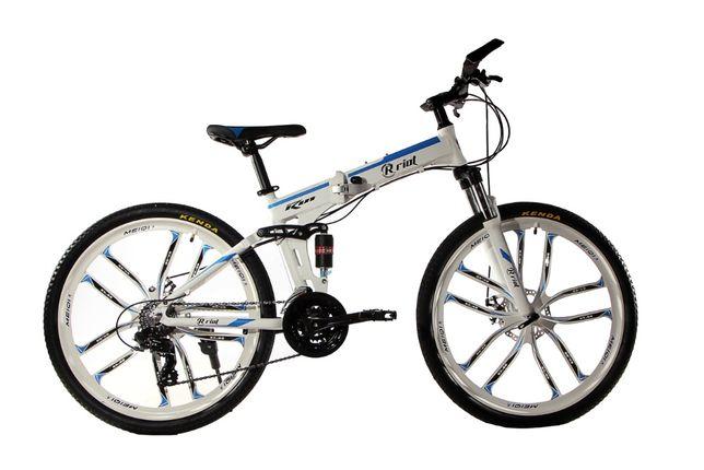 """Алюминиевый складной велосипед МАКЕ на литых дисках 26"""" бело голубой"""