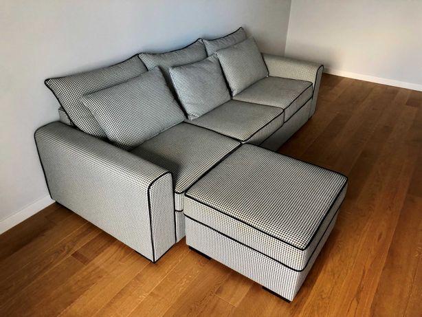 duża sofa kanapa narożnik pufa rozkładana z funkcją spania