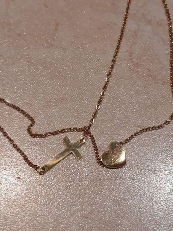 Naszyjnik ze stali chirurgicznej podwójny z krzyżem oraz sercem