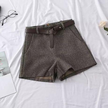 Твидовые шорты, шорты высокой талией