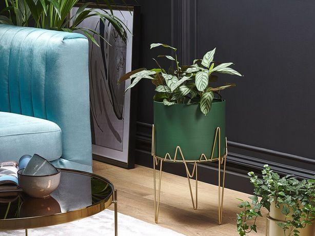 Suporte metálico para vasos 28 x 28 x 50 cm verde e dourado KALANDRA - Beliani