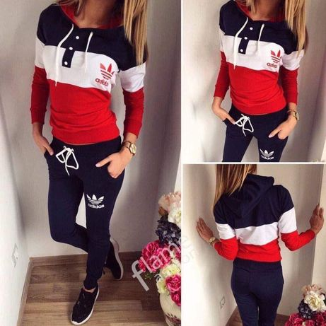 Dresy damskie z logo Adidas czarno czerwone S-Xl!!!