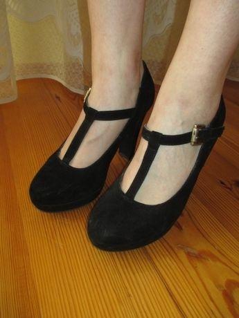 Buty czarne zamsz rozm. 39