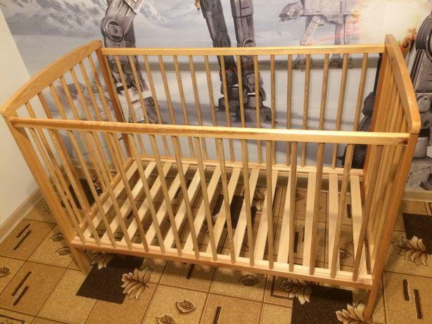 Łóżeczko dla dziecka - drewniane, materac piankowy z kokosem