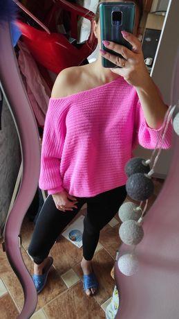 Dłuższy sweter, róż, tunika