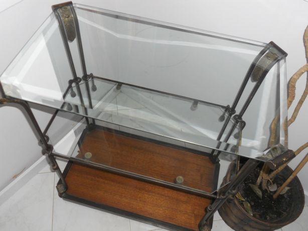 Mesa de apoio em vidro e ferro