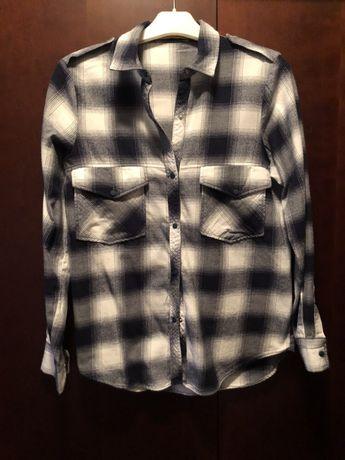 Koszula w kratę czarno biała Zara S