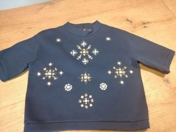 Bluza H&M- cekiny, ozdoby, granat, oversize- pianka !!!