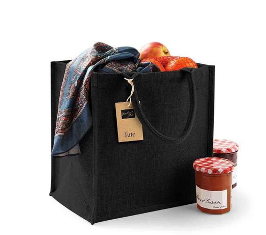 Trwała wielorazowa naturalna torba zakupy z juty bawełna 30x30x19