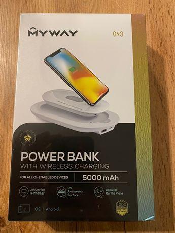 Power bank MYWAY 5000mAh + bezprzewodowe ładowanie+stacja