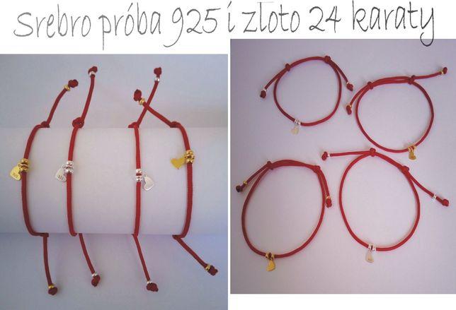 Bransoletka czerwony sznurek srebrna próba 925 pozłacana 24 karaty