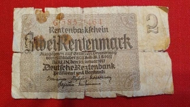Banknot Cwei Rentenmark Deutfche Rentenbankfchein 1923r. XXw. seria G
