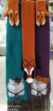 ЛИСА :варежки,шарф. Ручная работа. Подарок любителям Лисы.