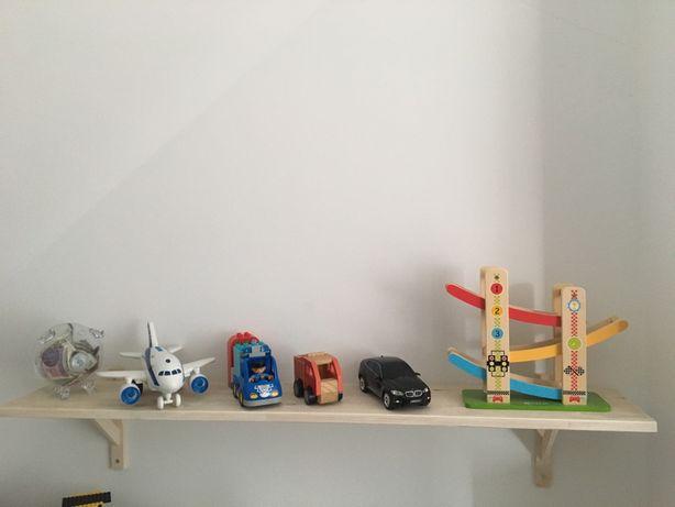 Półka, drewno bielone, wsporniki, 120x20cm