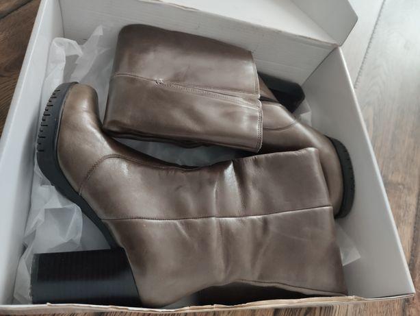 Kozaki damskie buty kowbojki Otto Kern skóra khaki 36 37 Okazja