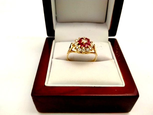 Złoty Piękny Pierscionek Z CYRKONIAMI 585PR 3,76G