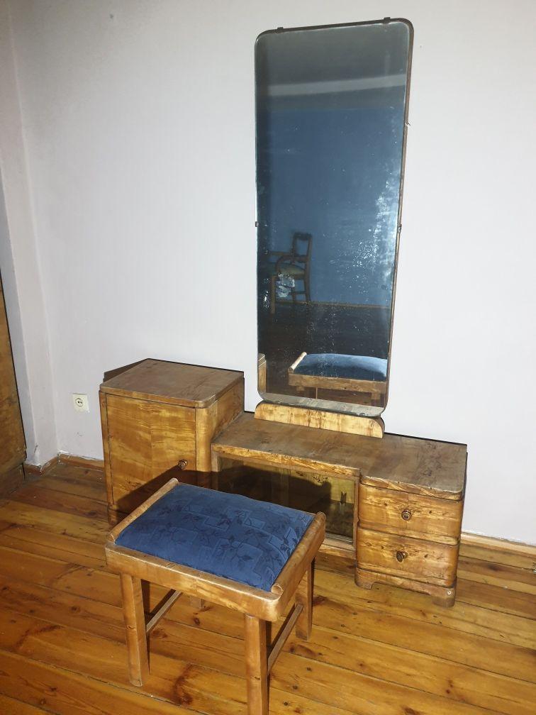 Toaletka z taboretem z lustrem ANTYK drewnania stare meble