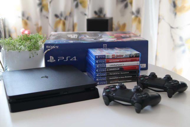 PlayStation 4,  Ps4 Slim 1TB, 2 pady, gry,  od 1 właściciela