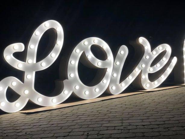 Podświetlany napis na ślub, wesele Love
