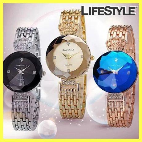 ТОПОВЫЕ женские часы Baosaili / стильные часы с короной СЕРЕБРО ЗОЛОТО