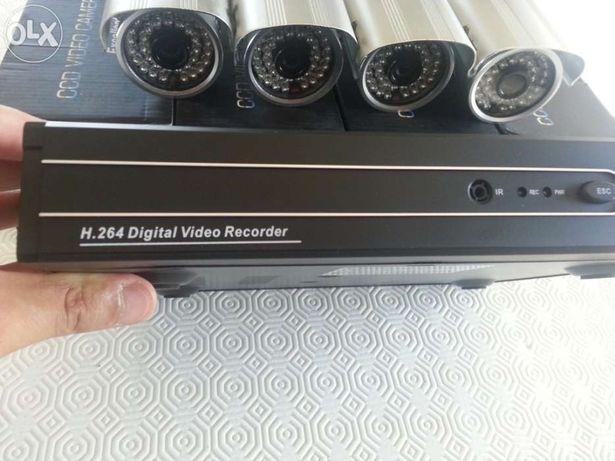 Kit 4 cameras gravador digital video vigilancia via internet telemovel