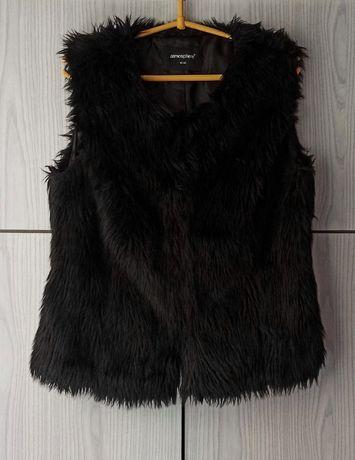 Czarne sztuczne futerko futro bezrękawnik kamizelka Atmosphere