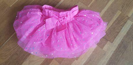 Spódnica baletnica różowa tiulowa brokatowa jak nowa rozmiar 80-86 mcy