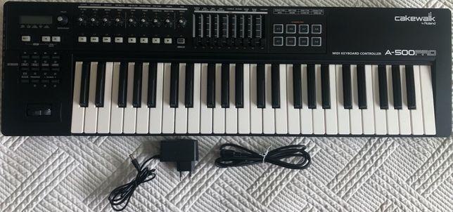 Teclado / Controlador MIDI Roland Cakewalk A-500PRO + Adaptador PSU