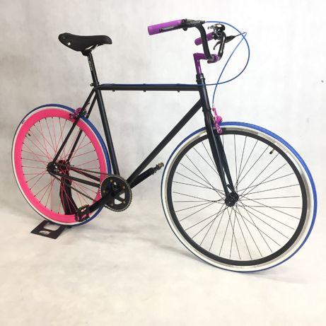 Rower miejski Single speed ostre koło Bubble Gum ECO 50