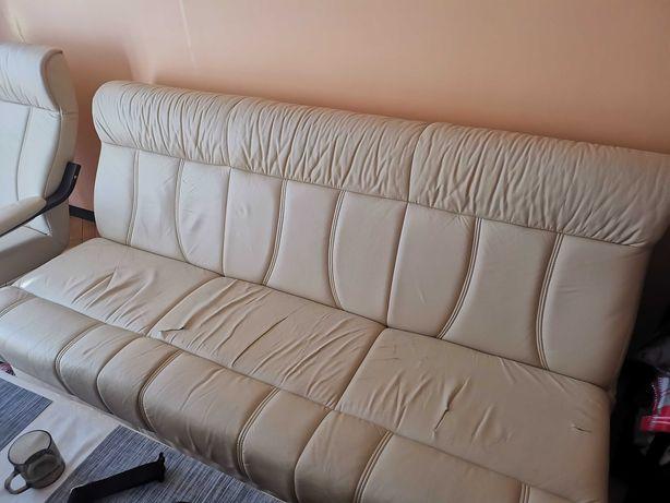 Zestaw skórzany 2 fotele sofa