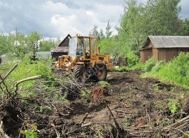 Расчистка участков, участка от деревьев, кустарников, поросли и травы.