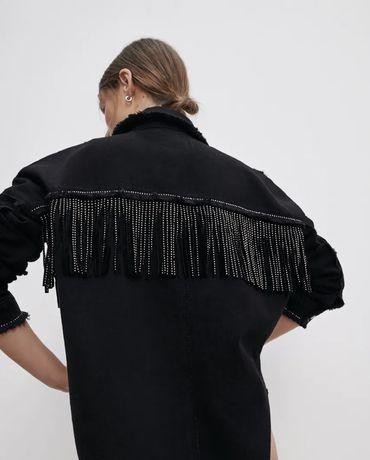 Джинсовая куртка рубашка с бахрамой ZARA S