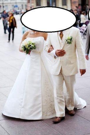 Suknia ślubna z podpinanym trenem. Ecru. 36.