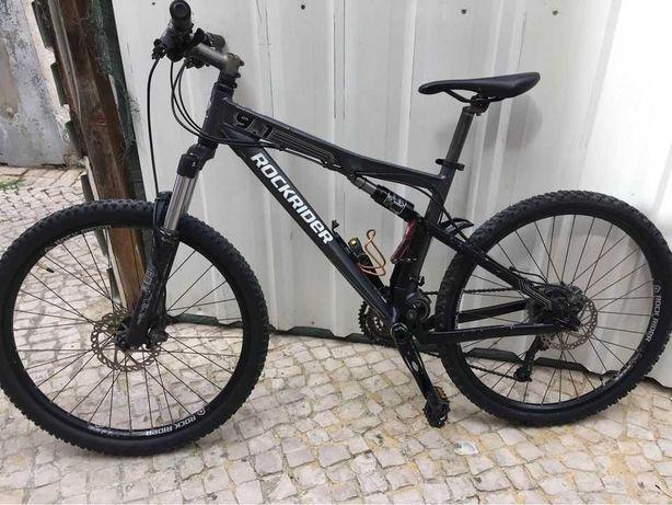 Bicicleta BTT alumínio Rockrider 9.1 suspensão total quadro M rodas 26
