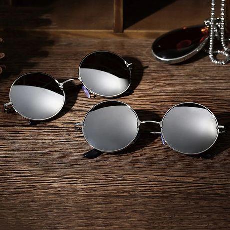 Очки круглые зеркальные солнцезащитные цветные серебристые черные