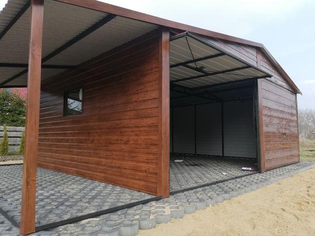 Garaż blaszany 6x5,80 plus 2m wiaty drewnopodobny złoty dąb,orzech