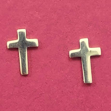 Urocze Złote Kolczyki Krzyżyk 0,49g 333