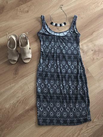 Sukienka na ramiączkach, czarna we wzory, sinsay xs