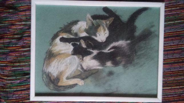 Кошка с котятами. Картина в дом (или квартиру).