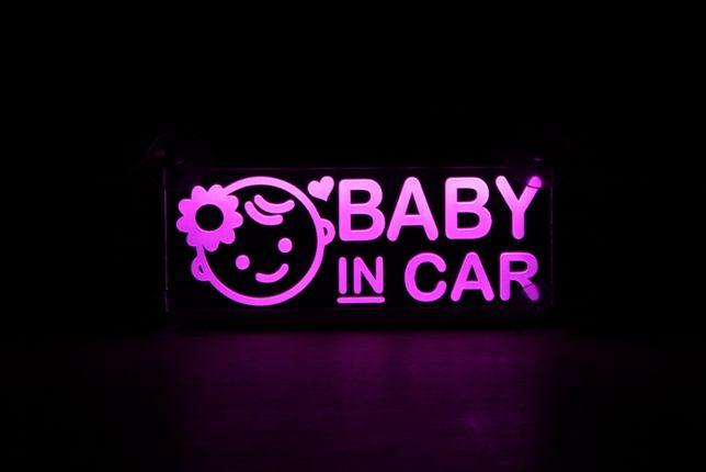 """Ультратонкий Led стикер """"Baby in Car"""", """"в машине ребенок"""" на присосках"""