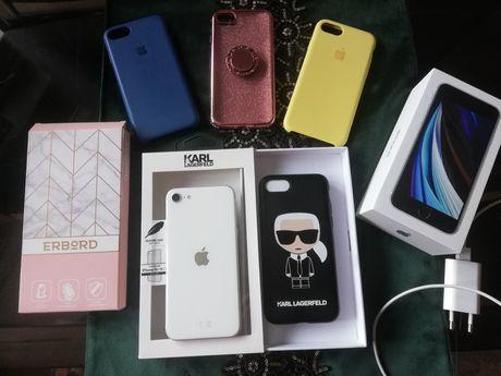 Iphone se 2020, biały, mega zestaw, stan idealny + karl lagerfeld