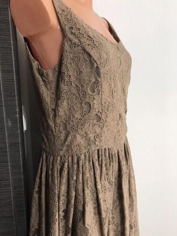 Długa koronkowa beżowa sukienka Tiffi 42 XL
