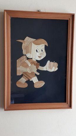 NATURALNE MATERIAŁY, oryginalny obrazek do dziecięcego pokoju, Pinokio