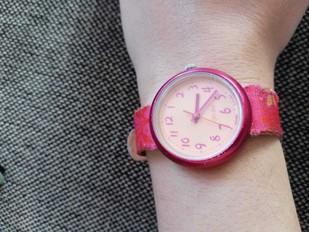 Relógio de criança rosa Swatch flik flak