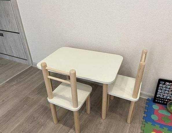 Стол и стул детский белый цвет Для детей от 2 до 6 лет .Выбор цвета