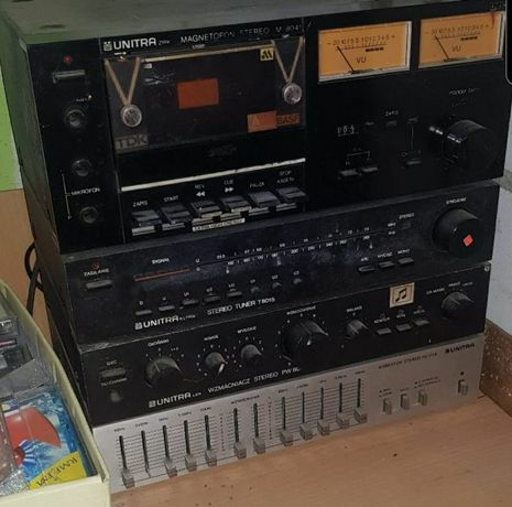 Wieża unitra wzmacniacz equalizer radio magnetofon