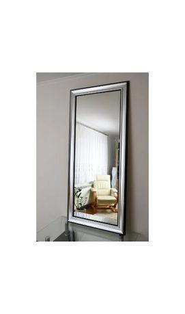 Duże lustro 9801 glamour 90x190cm srebro połysk, szeroka rama